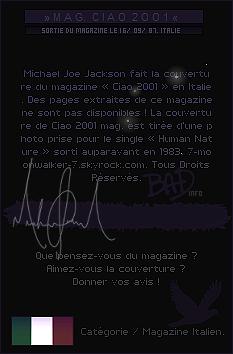 . 16/09/87   : Michael Jackson fait la couverture du magazine « Ciao 2OO1 » en Italie !.
