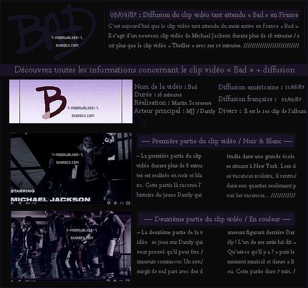 . 05/09/87 : Diffusion du clip vidéo «  Bad » en France après plus de six  jours après sa diffusion aux USA !.