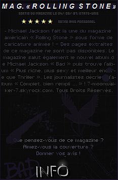 . 24/09/87 : Michael Jackson fait la couverture du magazine   « Rolling Stone » sous forme de caricature aux États-Unis.– CANDID : Le même jour, Michael Jackson rend visite dans la maison/studio du compositeur Mr. Tomita se situant au JPN.  .