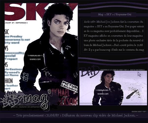 . Août 1987  : Michael Jackson fait la couverture du magazine britannique « SKY » au Royaume-Uni !.