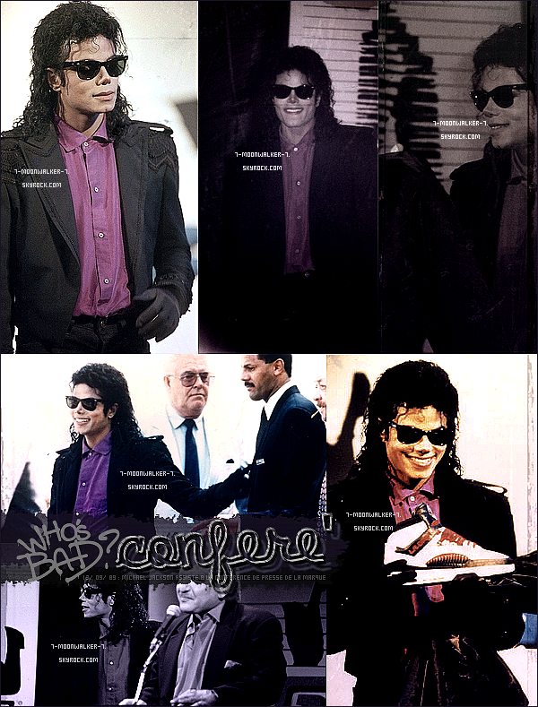 . 13/09/89  : Michael Jackson assiste à une conférence de presse de la marque « L.A GEAR » à Los Angeles. + Afin de le remercier de sa collaboration, le président de la marque lui offre une paire de baskets puis un blouson. .