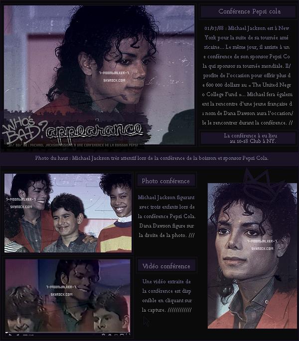 .  01/03/88   : Michael Jackson assiste à la conférence de presse de la publicité « Pepsi » au 10-18 Club à NY. .