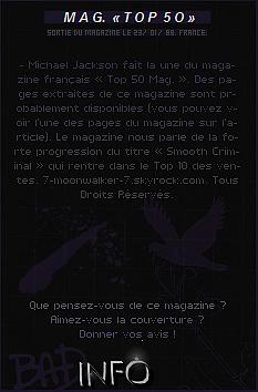 . 23/01/89  : Michael Jackson fait la couverture du magazine français « Top 50 » en France !.