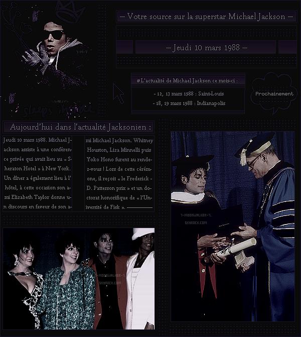 . – Article n°..  / Posté le 10/03/88 / Cérémonie : Michael Ja. assiste au 44ème dîner de la « The United Negro College Fund » qui avait eu lieu au Sheraton Hotel à New York. - Il reçoit également un « doctorat » lors de la cérémonie.  - .