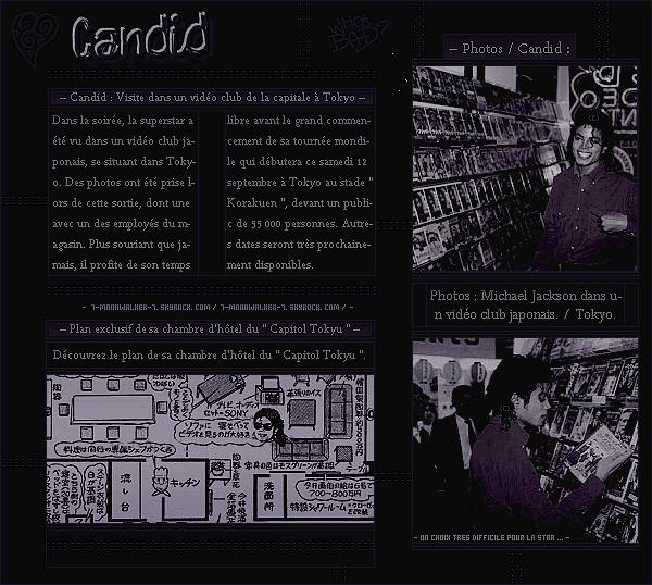 . – Article n°..  / Posté le 09/09/87 / Candids : Michael Jackson a été aperçu arrivant à l'aéroport  « Narita » avec l'équipe de la tournée à Tokyo au Japon. - Le soir-même, il a été vu dans un « Vidéo club » se situant probablement dans la capitale. .