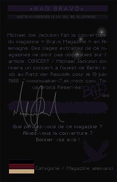 . 15/06/88  : Michael Jackson fait la couverture du magazine allemand « Bravo Magazine » en Allemagne !.