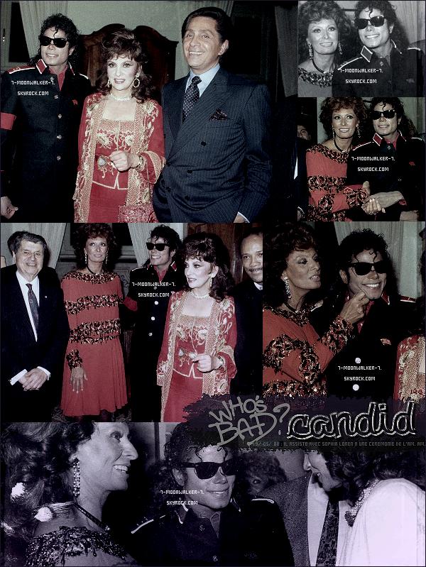. 19/05/88 : Michael Jacks. arrive à destination de « l'Italie » plus précisement de Rome pour la suite de sa tournée euro.– APPARITION : Le même jour, il assiste avec l'actrice Sophia Loren à la fête « De l'ambassade américaine » à Rome.  .