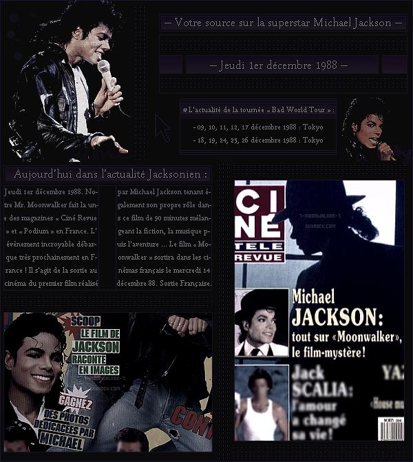 . – Article n°..  / Posté le 01/12/88  / Magazine : Michael Jackson fait la couverture des magazines « Ciné Revue  » & « Podium »  en France. - La vidéo promotionnelle de l'album « Bad  » refait surface afin de promouvoir encore plus l'album ... .