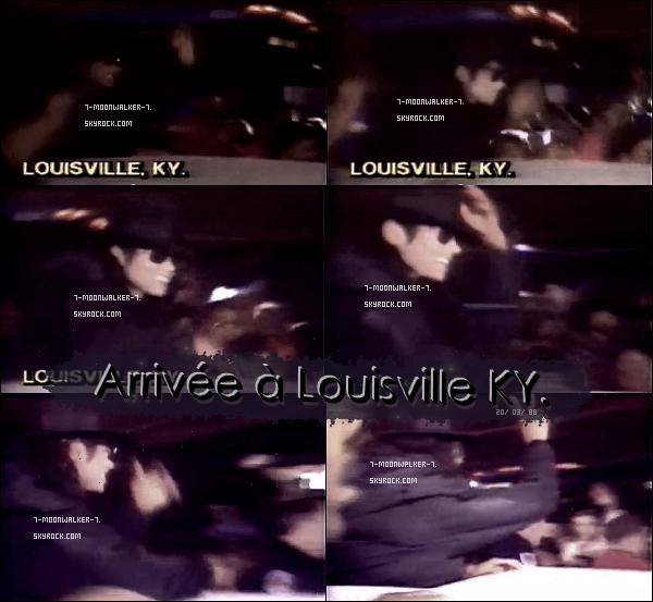 . 20/03/88   : Michael Jackson arrive en destination de la ville « Louisville KY. » afin de donner un concert là-bas.– CONCERT : Le soir même, Michael Jack. donne un concert au « Freedom Hall » se situant à Louisville KY.  .