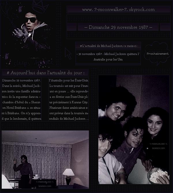 . – Article n°..  / Posté le 29/11/87 / Apparition : Michael Jackson a été vu à l'intérieur de l'hôtel du « Sheraton Hotel Brisbane » avec plusieurs fans. - Il s'agit une « famille australienne » qui ont eux la chance de rencontrer de Michael... - .