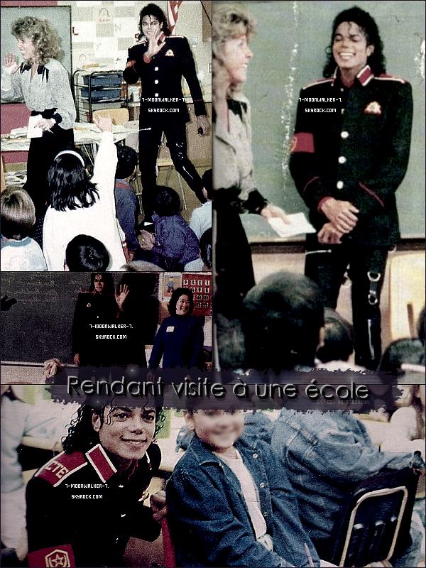 . 07/02/89 : Michael Jackson a été vu rendant visite à l'école  « Cleveland Elementary School » à Stockton ! - Il rend visite à l'école élémentaire de Stockton qui a était victime d'une tragédie horrible qui s'était déroulée le 17/01/89. - .