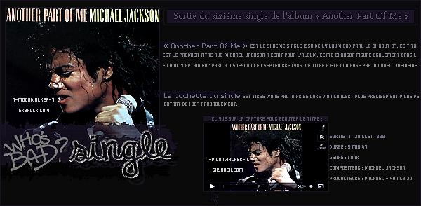 . 11/07/88 : Sortie du sixième single extrait de l'album « Another Part Of Me » !– CANDID : Michael a été vu sur le chemin de l'hôtel « Mayfair Hotel » à Londres.  .