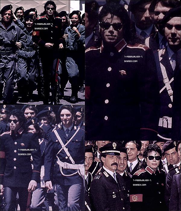 . Milieu mai : Michael Jackson a été aperçu sortant de l'hôtel « Lord Byron Hotel » à Rome, pour une destination inconnue. (+) La destination inconnue sera finalement une visite dans « une école de police » se trouvant également dans la capitale !!! .