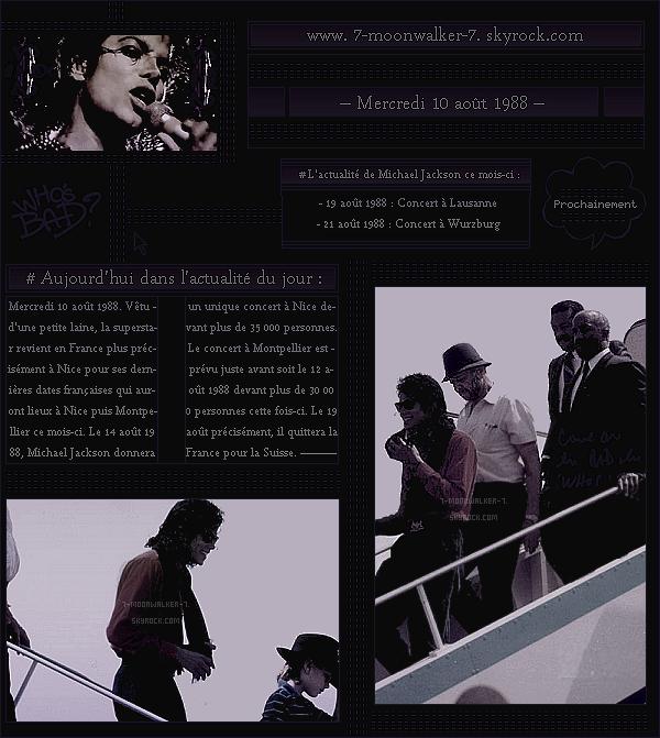 . – Article n°..  / Posté le 10/08/88 / Candid : Michael Jackson a été vu posant les pieds dans la ville de « Nice » en France. - Les prochaines dates de la tournée européenne de Michael Jackson sont désormais révélées ce mois-ci ... - .