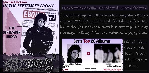. 21/09/87 : Michael Jackson fait une apparition dans le magazine « Ebony » édition du 21 septembre ! – CONCERT : Michael Jackson donne son dernier concert au « Hankyu Nishinomiya Stadium » à Osaka. .