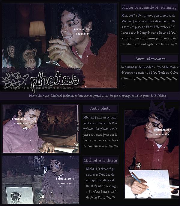 . Découvrez quelques photos personnelles prisent à l'hôtel Helmsley à New York ! En mars, Mike logera actuellement à New York pour la suite de sa tournée américaine qui aura lieu à le 3, 4 et 5 mars au MSG ! Le même mois, Michael Jackson tourne le clip vidéo « Speed Demon » à New Y. !.
