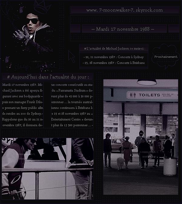 . – Article n°..  / Posté le 17/11/87 / Candid : Michael Jackson a été aperçu prenant un « ferry public » afin de se rendre au Zoo de Sydney. - Les dates de la tournée « australienne » sont révélées dont celle à Sydney ...  - .