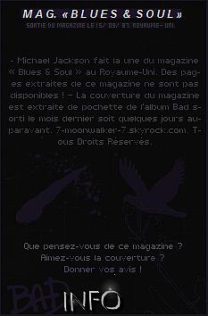. 15/09/87   : Michael Jackson fait la couverture du magazine « Blues & Soul » au Royaume-Uni.– ENREGISTREMENT : Le même jour, il enregistre le titre « GET IT » en duo avec St. W. ! – CANDID : Le même jour, Michael J. a été aperçu dans un « Grand Magasin » se situant à Tokyo.    .