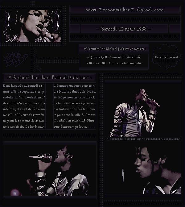 . – Article n°..  / Posté le 12/03/88 / Concert : Michael Jacks. donne un concert à St-Louis au « St. Louis Arena » devant 18 000 personnes. Le lendemain, il donnera autre concert consécutif là-bas devant 20 000 personnes cette fois-ci ... .