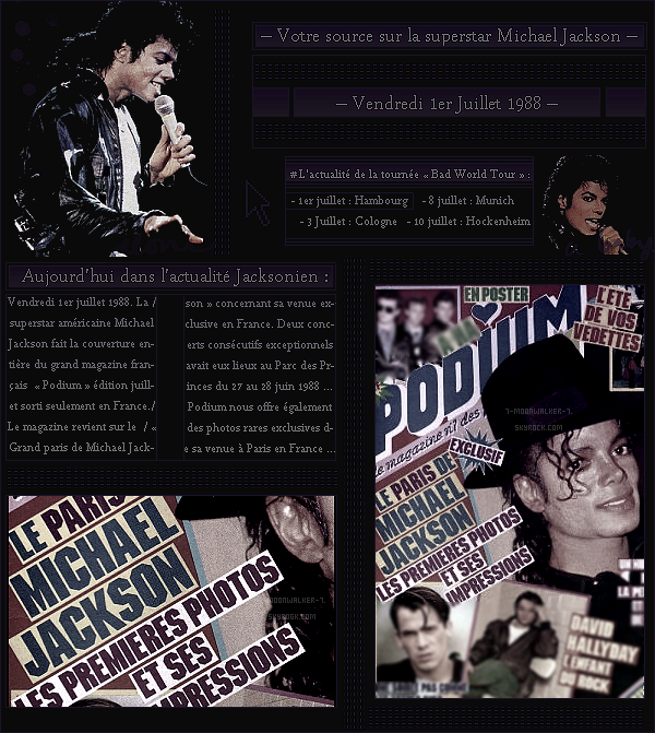 . – Article n°..  / Posté le 01/07/88 / Magazine : Michael Jackson fait la une du magazine « Podium » puis également les pages du magazine en France. - Le soir même, concert au Volkspark Sta. à Hambourg devant plus de 50 000 personnes. - .