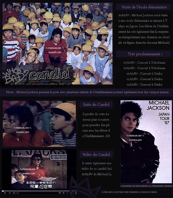 . 30/09/87 : Michael Jackson rend visite à une « école élémentaire » se situant dans la capitale à Tokyo !  .