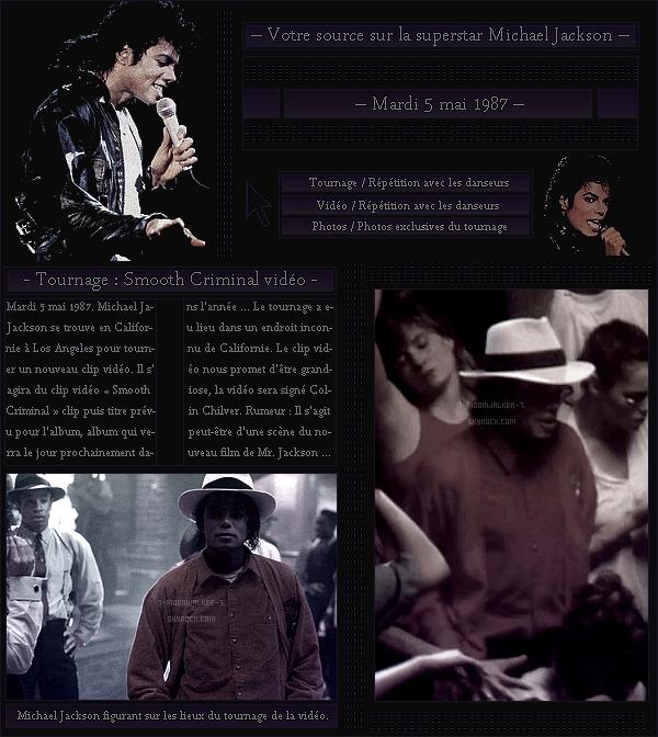 . – Article n°..  / Posté le 05/05/87 / Tournage : Michael Jackson a été aperçu tournant un nouveau clip vidéo  qui se nommera « Smooth Criminal » qui a lieu en un endroit inconnu de Californie » plus précisément à Los Angeles.  - .