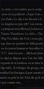 . – Article n°..  / Posté le 09/12/87 / Magazine  : Michael Jackson fait la couverture du magazine français « Salut ! » en France. - Diffusion du clip vidéo « The Way You Make Me Feel » dans l'émission du mercredi soir « Sacrée Soirée » ! - .
