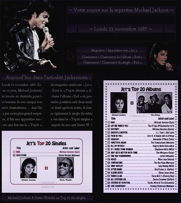 . – Article n°..  / Posté le 23/11/87 / Magazine  : Michael Jackson fait une apparition dans le  « Top20 » des albums / singles du magazine américain « Jet » aux Usa. Il classe également l'album puis le single du même nom en 1e position du Top20 ! - .
