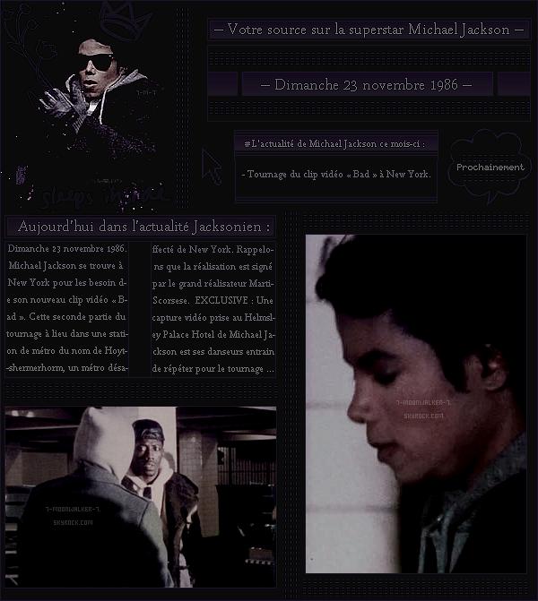 . – Article n°..  / Posté le 23/11/86 / Tournage : Michael Jackson a été vu tournant une des parties de la vidéo « Bad » dans la station de métro Hoyt-shermerhorm à New York. - Exclu la capture des répétitions des chorégraphies - .