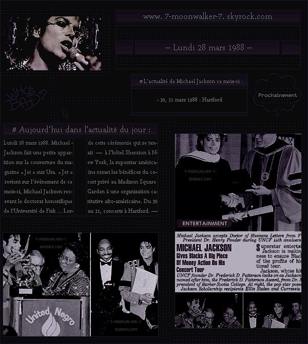 . – Article n°..  / Posté le 28/03/88 / Magazine : Michael Jackson fait une petite apparition sur la couverture puis les pages du magazine américain « Jet » aux Usa. - La tournée américaine continuera à « Hartford » le 30 et 31 mars 88. - .