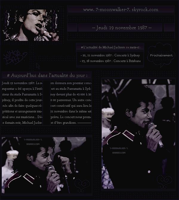 . – Article n°..  / Posté le 19/11/87 / Répétition : Michael Jackson a été aperçu répétant au « Parramatta Stadium »  avant le grand concert qui aura lieu le lendemain. Plus de 45 000 à 50 000 personnes sont attendues pour ce concert ... .