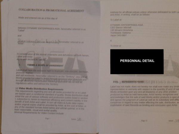 mon contrat artistique en major (musique)