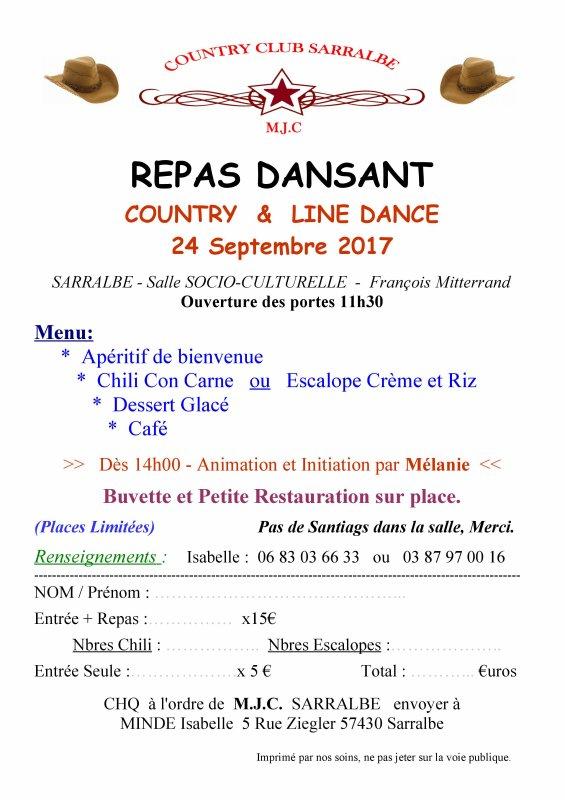 Repas et Aprés-midi Country à Sarralbe 24/09/2017