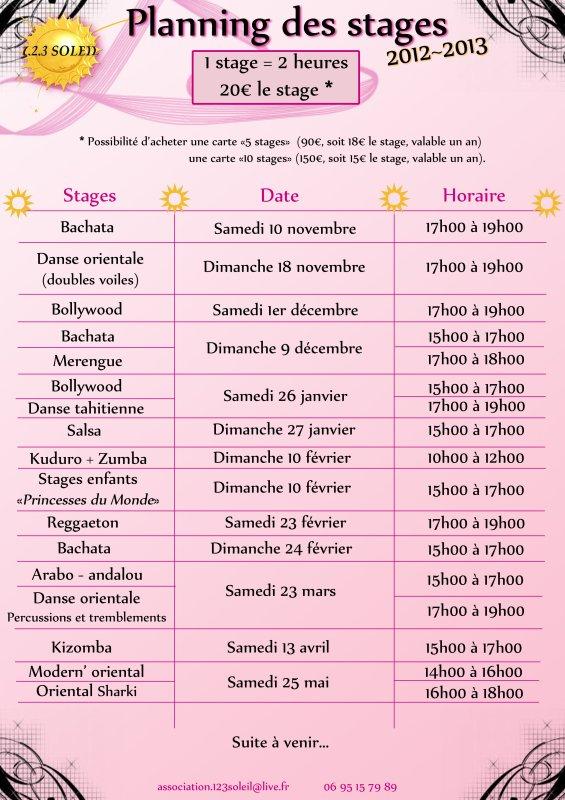 Programme des stages 2012 / 2013