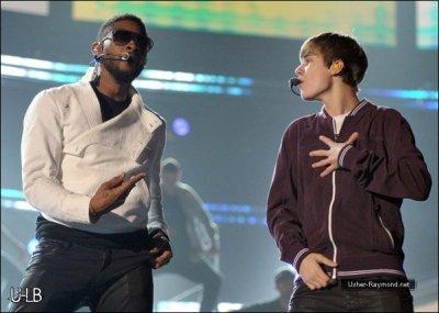 . Usher & Justin Bieber en répetitions pour les Grammys. .