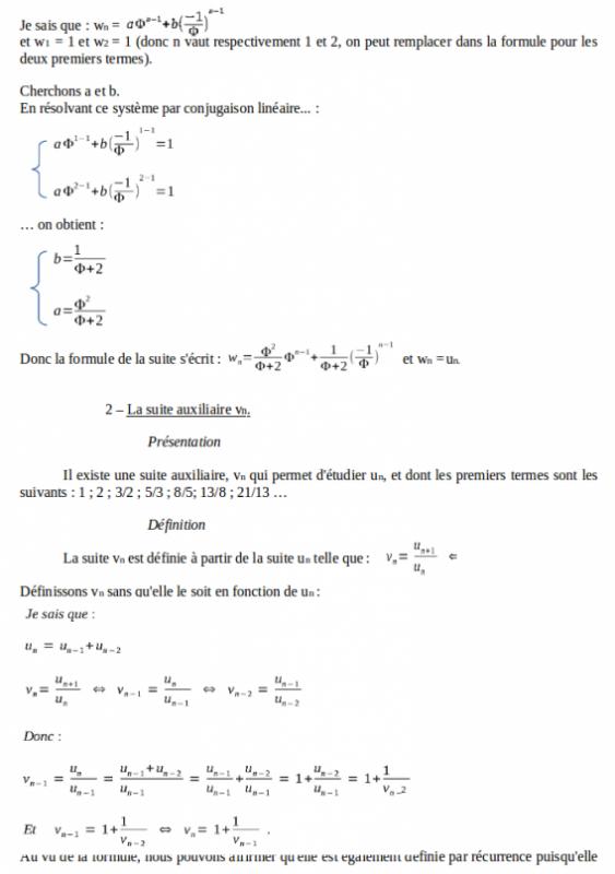 TPE - 1ère S : Nombre d'or, et suites PARTIE II