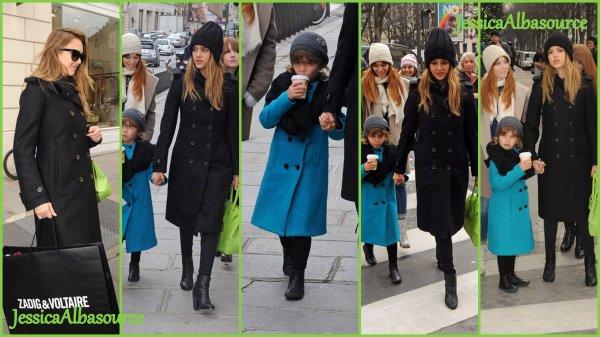 samedi 2 mars Jessica, Honor ,Lauren et la nounou faisant les boutiques à Paris