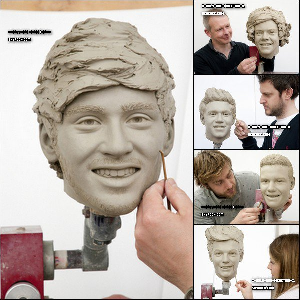 Voilà les photos des visages des garçons pour leurs statues de cire chez Madame Tussauds.
