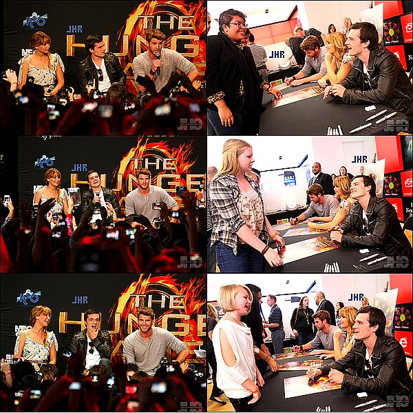 """04/03/12 : Josh commençant la tournée centrale de lancement du film """"The Hunger Games """" accompagné de ses collèges de tournage , Jennifer Lawrence et Liam Hemsworth.TOP ou FLOP ?"""