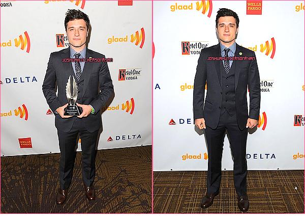 21/04/12 : Josh s'est rendu aux 23ème Annuel Glaads Media award. TOP ou FLOP ? + La vidéo de Josh recevant sont prix.