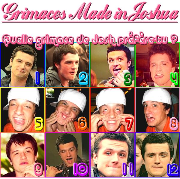 Le 06/05/12 : Pas de news pour le moment alors je vous propose ceci : - Grimaces Made in Joshua , Laquelle préfère - tu ? - Josh et les chiens , toute une histoire... ╚>TOP ou FLOP ?<╝