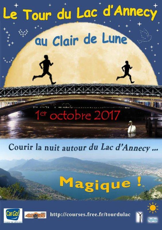 Tour du lac d'Annecy au clair de lune