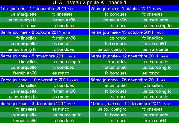 calendrier U13 niveau 2 - poule K - phase 1