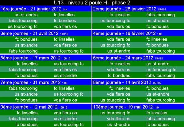 calendrier U13 niveau 2 - poule H - phase 2