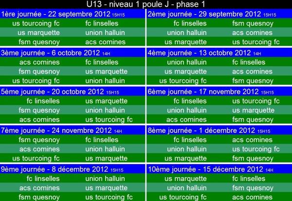 calendrier U13 niveau 1 - poule J - phase 1