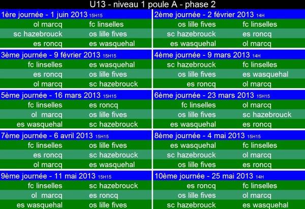 calendrier U13 niveau 1 - poule A - phase 2