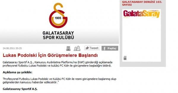 Galatasaray annonce podolski