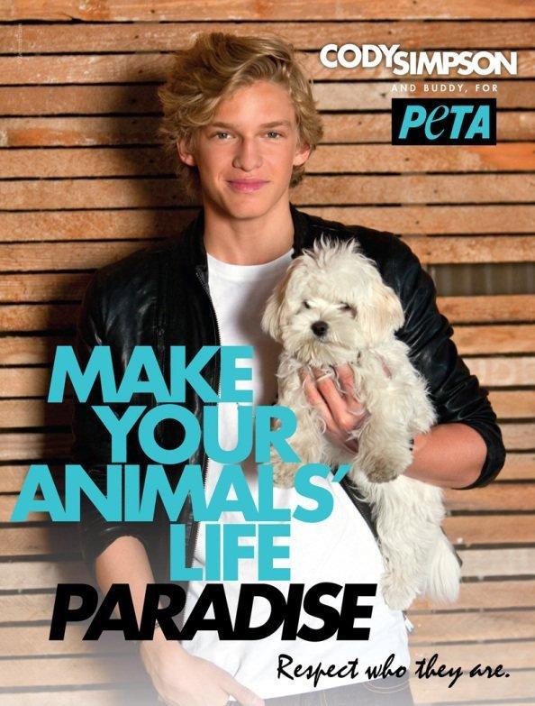 . 15 Juin : Cody participe à la campagne pour la protection des animaux « PETA ».
