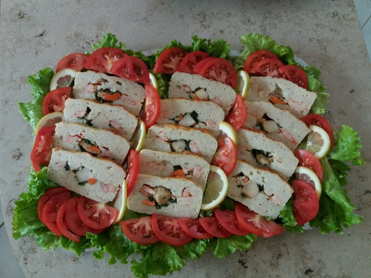 Terrine de poissons St Jacques crevettes