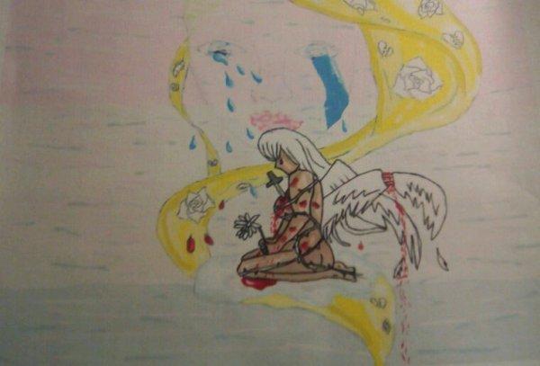 Dessin manga ange triste, détruit